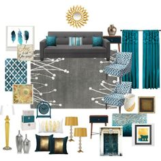 Teal, grey, gold living room by ealfaro814 on Polyvore featuring interior, interiors, interior design, home, home decor, interior decorating, Dorel, Southern Enterprises, Trans Globe Lighting and nuLOOM