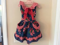 "Size 2 3 one of a kind Vintage girl "" I Love Lucy "" Retro Mod faux Denim blue picnic cherry fruit dress - Birthday Party - Sock Hop"