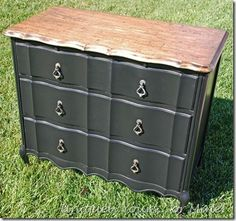 French chest painted Valspar black and top refinished and stained Dark Walnut, vinage pulls from France added