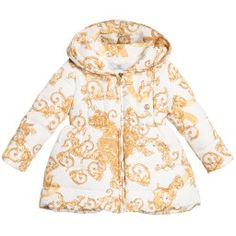 Young Versace - Baby Girls Down Padded 'Baroque Dragon' Coat | Childrensalon