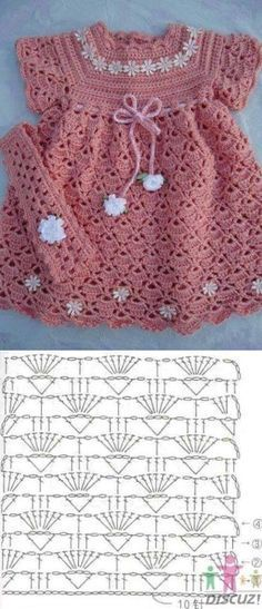Crochet Baby Girl Dress Crochet Yarn For Girls Staying Beautiful Crochet Girls Dress Pattern, Baby Girl Crochet, Crochet Baby Clothes, Pattern Dress, Crochet Yarn, Crochet Stitches, Cardigan Bebe, Knitting Patterns, Crochet Patterns