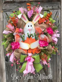 Easter Bunny, Easter Wreath, Spring Wreath, Bunny Wreath, Easter Mesh Wreath, Easter Decor Where Are My Carrots? Silly Bunny~  Just as FUN as can be~ he's ready to make a grand appearance on your door! Measuring XL at 35 inches in length & 26 inches wide filled with popping Spring