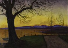 """""""Spring Evening"""" by Harald Solhberg neo-romantic Norwegian painter depicted mountains of Rodane exhibited in Akershus Fortress National Art, National Museum, Dulwich Picture Gallery, Graffiti, Italy Landscape, Trondheim, Art Academy, Gustav Klimt, Landscape Paintings"""
