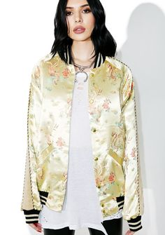 Jaded London Jacquard Souvenir Bomber yew run da streetz, bb. Be bold in this bomber jacket that features multicolored embroidery on a yellow body, gray velvet stripes down the sleevez, and striped banded hems on the neck, sleevez, and bottom.