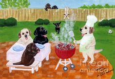 BBQ Party Labrador Painting. Prints are available. Labrador artwork by Naomi Ochiai. #labrador #painting #dog