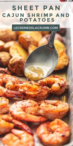 Sheet Pan Cajun Shrimp and Potatoes will fill your bellies with warm, spicy shrimp and soft, tender, buttery baby potatoes. Appetizers For A Crowd, Seafood Appetizers, Seafood Dinner, Seafood Recipes, Dinner Recipes, Cooking Recipes, Shrimp Potato Recipe, Baked Shrimp, Cajun Shrimp