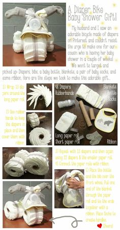DIY Diaper Bike Diaper Cake...Baby Shower Gift!