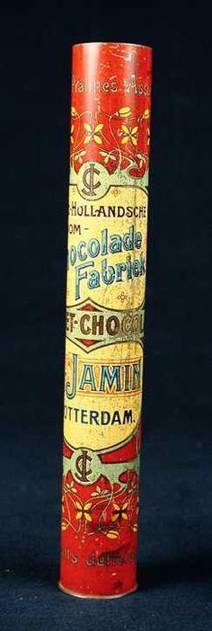 "Smal rond blik, ""C. Jamin, Croquet-chocolade"", rood, geel en lichtblauw"