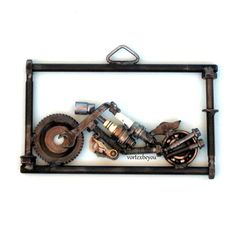 Items Similar To Metal Art Motorcycle Wall Sign Gifts Bike Rider Gift Recycled Scrap Sculpture
