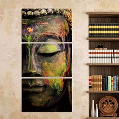 Shuaxin Modern Photo Buddha Wall Art Print on Canvas Home Living Room Decorations Wall Art set of 3Green 1624inch Frameless >>> Click image for more details.
