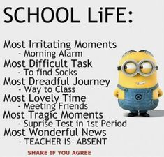 Funny minion quotes - Funny Quotes Minions Friends Laughing Ideas For 2019 funny quotes Minion Humour, Funny Minion Memes, Funny School Jokes, Very Funny Jokes, Really Funny Memes, Minions Quotes, Funny Facts, Minions Funny Hilarious, Funny Disney Jokes