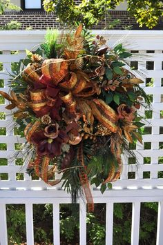 Fall Door Wreath Full of Gold, Burgundy, Copper and Bronze Ribbon, Magnolia, Fruit, Glitter, Pines and Lush Greenery.