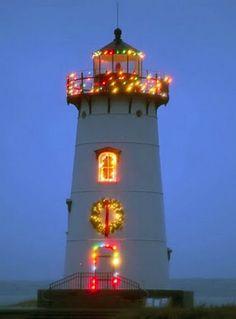 Edgartown Lighthouse, Massachusetts, during Christmas.