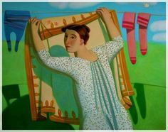 Afifa Aleiby Iraqi) - bold colors, cartoonish but not flat, colors used for shadows Alex Colville, Carl Larsson, Audrey Kawasaki, Laundry Lines, Laundry Art, Bagdad, Art For Art Sake, North Africa, Painting Inspiration