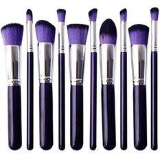 Skyblue-uk Kit De Pinceau Maquillage Professionnel 10PCS Manches en Bois Violet Pinceau Poudre Eyebrow Shadow Blush Fond De Teint Anti-Cerne Violet, Makeup Brushes, Glow, Lipstick, Make Up, Tumblr, Facebook, Amazon, Beauty
