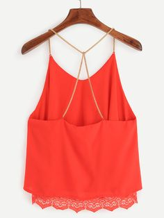 SheIn offers Red Lace Trimmed Chain Strap Chiffon Cami Top & more to fit your fashionable needs. Cool Outfits, Casual Outfits, Fashion Outfits, Chiffon Cami Tops, T Shirt Crop Top, Belly Shirts, Fancy Tops, Orange Fashion, Fashion Line