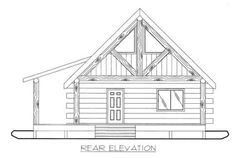 Home Plan: - Rear Elevation Cabin House Plans, House Layout Plans, Tiny House Plans, House Layouts, Custom Home Designs, Custom Homes, Prefab Garages, Small Cottage Homes, Garage Apartments