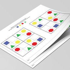 Introducér Sudoku for dine børn, med disse 12 opgaver, hvor de manglende elementer skal tegnes ind.  Sværhedsgraden øges efterhånden som opgaverne løses i den rigtige rækkefølge. Printer, Map, Printers, Location Map, Maps