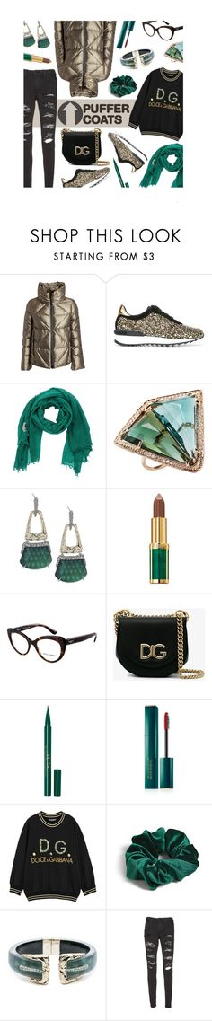 """""""Stay Warm: Puffer"""" by mia-christine ❤ liked on Polyvore featuring FAY, Casadei, Momonì, Jacquie Aiche, Alexis Bittar, Balmain, Dolce&Gabbana, Stila, Estée Lauder and Forever 21"""