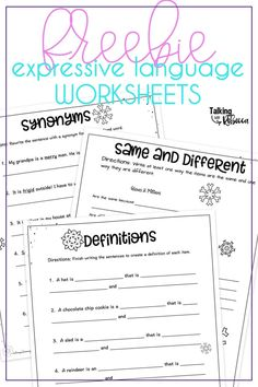 These winter themed worksheets for synonyms, definitions, and same and different (compare and contrast) are the prefect low prep activity for this winter. Just print and go for a speech therapy activity or send home for homework! Vocabulary Activities, Speech Therapy Activities, Language Activities, Articulation Activities, Phonics, Speech Language Pathology, Speech And Language, Aphasia Therapy, Play Therapy Techniques