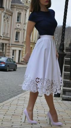 Skirt Outfits 21 - Fashiotopia, Rock Outfits 21 - Fashiotopia, outfits with skirts Rock Outfits, Girly Outfits, Skirt Outfits, Classy Outfits, Spring Outfits, Dress Skirt, Lace Skirt, Dress Up, Classy Casual