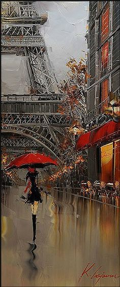 love <3 I seem to be a sucker for paintings featuring rain, red umbrellas and cityscapes lol