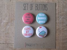 I love my library buttons. I love books buttons. Pinback buttons. Book Lover Pins. Small backpack pins.