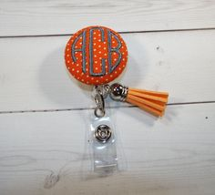 Retractable ID Badge Holder Reel   Fabric Button tassel  chic / cute / preppy / fabric / covered button / clip-on / retractable cord / patterened / coworker or school gifts / nurses gift / badge reel / nurse id / student id holder / id reel