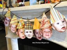 this adorable birthday banner idea came from Linda Jo's Obsessions - how cute would this be in a classrooom? Hats could be whatever the theme of the class is! It would be cute to make one using teacher faces!!!