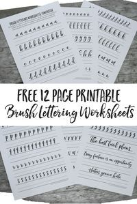 Free Brush Lettering Worksheets