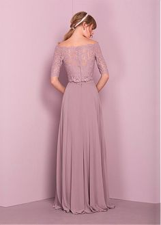 Buy discount Marvelous Lace & Chiffon Off-the-shoulder Neckline Two-piece A-line Bridesmaid Dress at Dressilyme.com