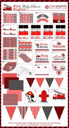 Dalmatian Firefighter Baby Shower Package by venspaperie on Etsy, $35.00