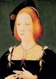 """Mary Tudor, Henry VIII's younger sister was known as one of the most beautiful princesses in Europe. She also had the trademark red hair of the Tudors. When she married the King of France, the Ambassador from Venice described her as """" a Paradise - tall, slender, grey-eyed, possessing an extreme pallor"""". She wore her glorious silken red-gold hair flowing loose to her waist. She and her brother Henry were close as children, and he named his daughter Mary after her."""