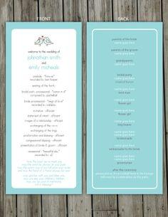 DIY Adorable Love Birds Wedding Program by ProteusDesign on Etsy, $40.00