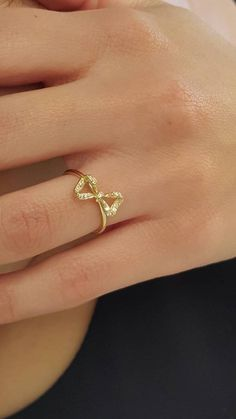 $460 Solid gold bow ring Diamond bow ring Ribbon by elegantjewelbox