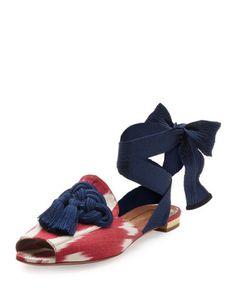 Aquazzura  Legend Ikat Ankle-Wrap Flat, Red