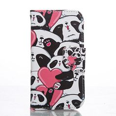 PowerQ Colorful Pattern Series PU Artificia-Leather Case Holster < Love Panda | for Samsung Galaxy A5(2016) A510 > with Beautiful Pretty Pattern Print Printing Drawing Wallet Purse Bag Cellphone Case mobile Cover Protect Skin with Credit Card Slot Stand Holder