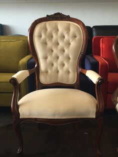 Complete restoration of a Queen Anne Grandfather Chair using a cream velvet. Italian reproduction furniture has been well made and is an antique chair worthy of restoration. Queen Anne Chair, Reproduction Furniture, Booth Seating, Antique Chairs, Furniture Styles, Armchairs, Style Guides, 1970s, Restoration