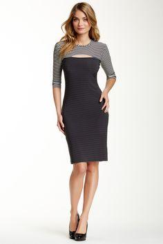 Striped 3/4 Length Sleeve Dress by Kamali Kulture