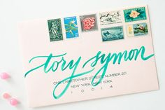 Vintage postage + watercolor calligraphy