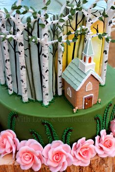 With Love & Confection: My Cake Central Magazine Cover Cake. Dusk forest theme wedding cake with tiny Gingerbread Chapel, hand-sculpted roses and birch trees designed and created by Veronica Arthur of With Love & Confection.