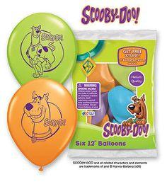 "6 pc 12"" Scooby Doo Party Latex Balloons Happy Birthday Mystery Great Dane Dog"