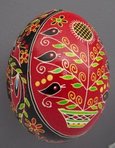 Pysanka, Real Ukrainian Easter Egg Hen Chicken Shell,Geometric Design,Birds,T11