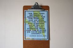 SALE - Wanderlust Travel Quote - FOREIGN & STRANGE - 8x10 Art Print - Carson McCullers Quote on Upcycled Map. $16.28, via Etsy.