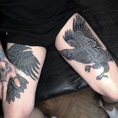 Raven Tattoo, Tattoo Photos, Black And Grey, Tattoos, Style, Tattoo Man, Leg Tattoos, Swag, Tatuajes