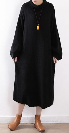 731dad5944 Cute Sweater weather Vintage o neck pockets black oversized knit dress.  Winter Sweater Dresses