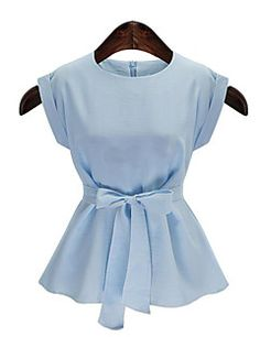 Women's+Casual/Daily+Plus+Size+Summer+Blouse,Solid+Round+Neck+Sleeveless+Blue+/+White+Cotton+Medium+–+USD+$+12.99