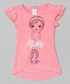 Rose Tutu Girl Angel-Sleeve Tee - Girls