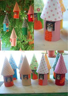 Owl Birdhouse Ornaments~Images © Lavender Girl