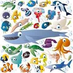 Funny cartoon sea creatures and fish vector Fish Drawings, Cartoon Drawings, Underwater Art, Cartoon Fish, Fish Vector, Under The Sea Theme, Animal Posters, Animal Decor, Fish Art